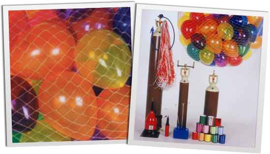 balloon nets and gas cylinder